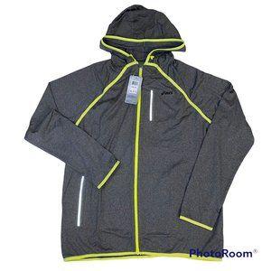 Asics Men's Gray Neon Full Zip Hoodie w Pockets, Size 2XL, NWT